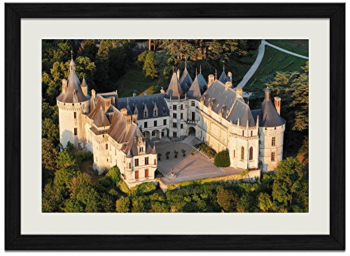 (French Forest Castle - Art Print Wall Black Wood Grain Framed Picture(16x12inches))