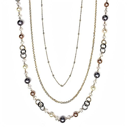 (Gem Stone King Multi-Color Multi-Row 3-String Gold Tone Fashion Pearl Layered Necklace 18inches)