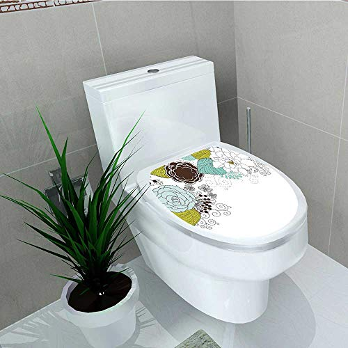 Philip C. Williams Decal Wall Art Decor Spring Ornamental Florets Blooms Romantic with Leaves Design Dark for Toilet Decoration W11 x L13 ()