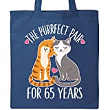 Inktastic - 65th Anniversary Gift Cat Couples Tote Bag Royal Blue