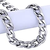 Trendsmax 11mm Mens Boys Curb Cuban Link Chain Silver Tone Stainless Steel Necklace 18-36inch