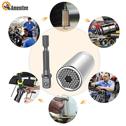 Amenitee Universal Socket, Multi-function Universal Sockets, 7mm-19mm Professional Wrench Power Drill Adapter Unique Repair Tools,Silver