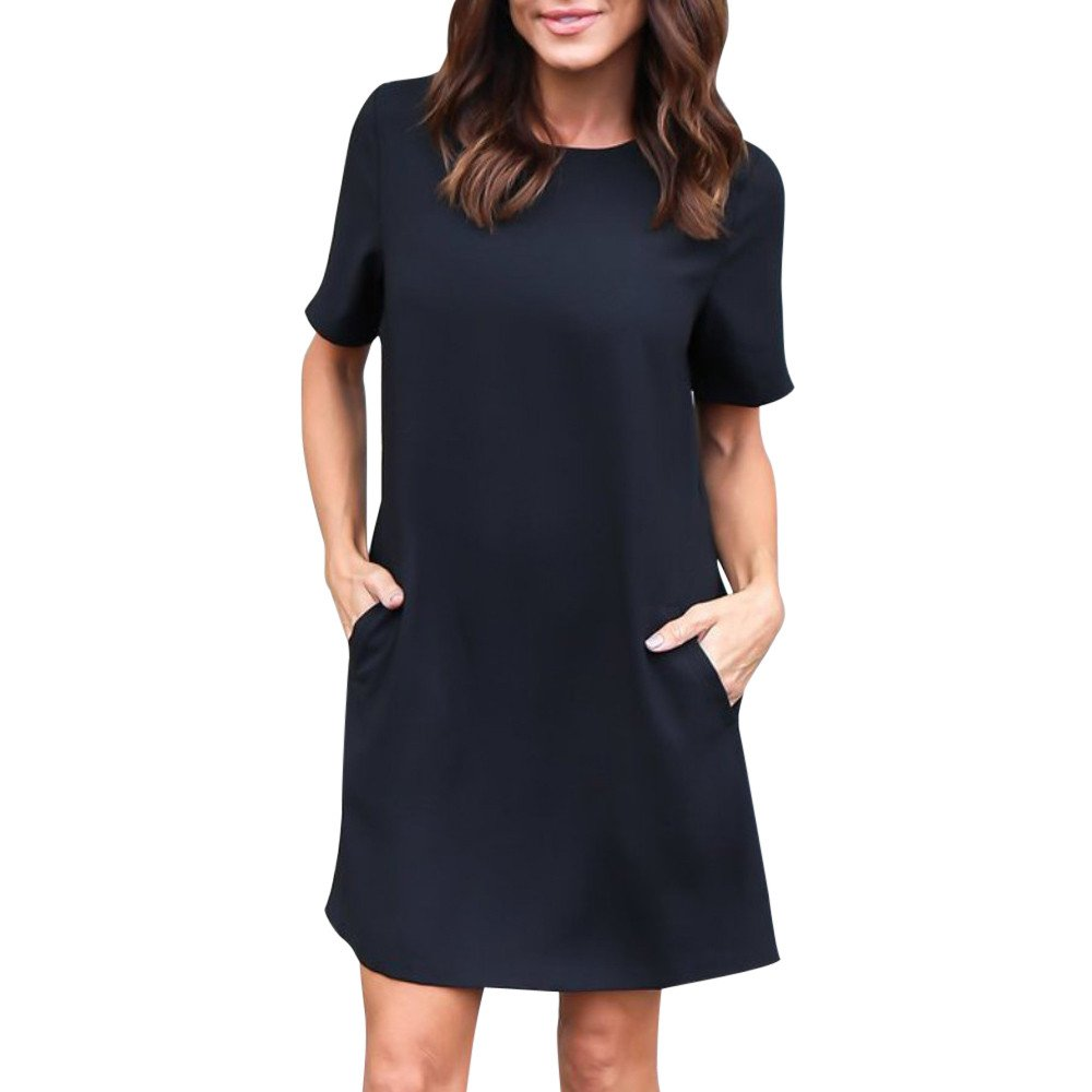 Women Dress Short Sleeve Casual Solid Color Loose Midi Dress with Pocket Knee Length (S, Black)