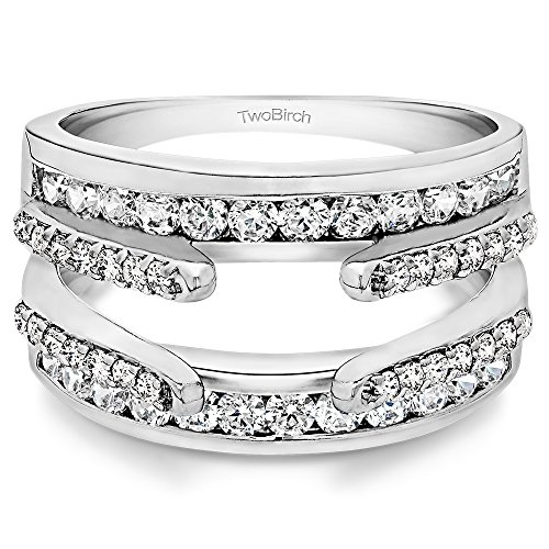 TwoBirch 0.87 CT C&C Moissanite Combination Cathedral+Classic Ring Guard in Silver (3/4 ct)(Size 3-15, 1/4 Sizes)