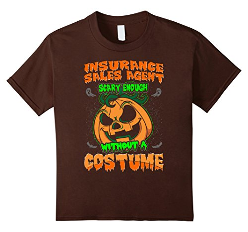 Insurance Agent Costume (Kids Insurance Sales Agent Scary Costume Halloween Tshirt 6 Brown)