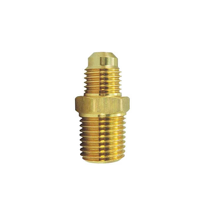 "Nigo Industrial Co. Brass Tube Fitting, Half-Union, Flare x NPT Male Pipe (1, 1/4"" Flare x 1/4"" NPT Male)"