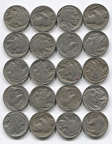 20 Indian Head Buffalo Nickel Coins Lot Full Date 1/2 Roll Mixed Set (Indian Head Nickel Coin)