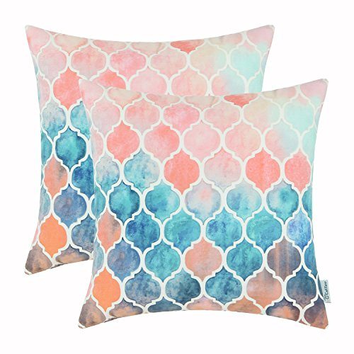 CaliTime Pack of 2 Cozy Throw Pillow Cases Covers Couch Bed Sofa Manual Hand Painted Colorful Geometric Trellis Chain Print 18 X 18 Inches Main Peach Teal - Pack Case Bed
