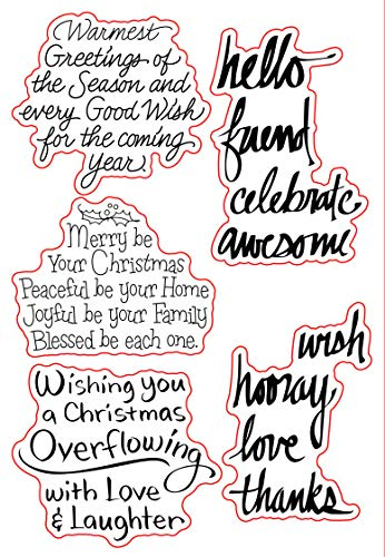 Merry Christmas Sentiments Sayings Greetings Phrase Stamp Rubber Clear Stamp/Seal Scrapbook/Photo Album Decorative Card Making Clear Stamps