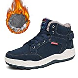 SITAILE Mens Snow Boots Winter Fur Lined Warm Shoes Waterproof Outdoor High Top Sneakers