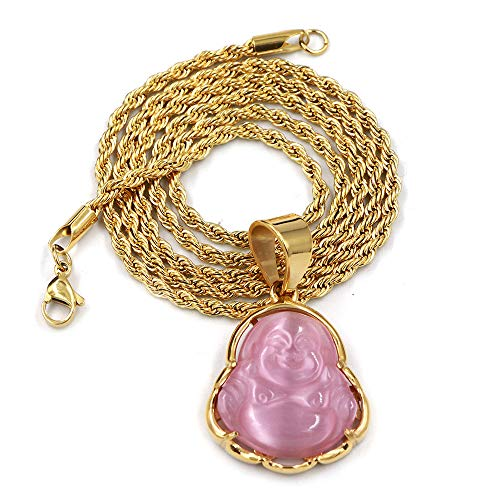 (Raonhazae Stainless Steel Gold Smiling Chubby Buddha Pendant w/Cuban Chain (Multiple Colors) (Pink, 20))