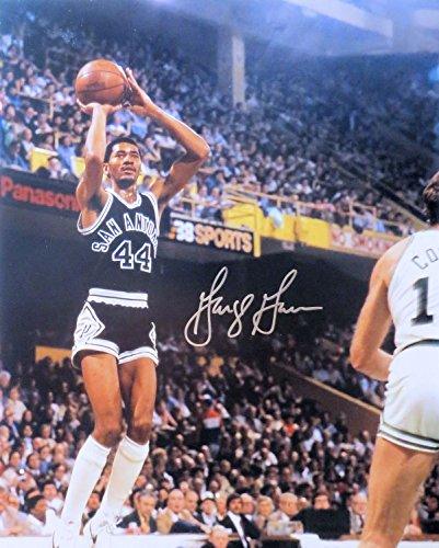 George Gervin Signed Autographed 16X20 Photo Spurs Road Jump Shot w/COA