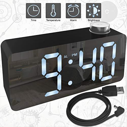 X Ykoki Alarm Clock – Digital Clock LED Display – Time Snooze Temperature Brightness Dimmer – Desk Clock for Kids Heavy Sleepers Adults – Modern Alarm Clocks for Bedrooms Bedside Home Battery Clock (Model Signal Turn)