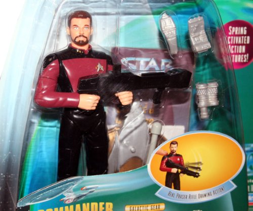 COMMANDER WILLIAM RIKER Star Trek: The Next Generation 1998 Warp Factor Series 1 Deluxe Action Figure with Real Phaser Rifle Drawing (Series 1 Deluxe Figure)