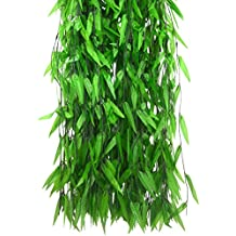 Beebel 50Pack 380Ft Artificial Vine Fake Leaves Silk Willow Rattan Wicker Twig for Jungle Party Supplies