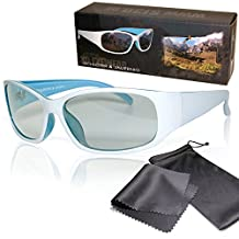 """Passive 3D Movie & TV Glasses - White / Blue Unisex - High Quality - For RealD Cinema use and passive 3D TVs such as LG """"Cinema 3D"""" and Philips """"Easy 3D"""" and passive 3DTV from Panasonic, Grundig, Sony, Toshiba, CMX, Hisense, Finlux and more - Circularly Polarized - With Microfiber Pouch and Cleaning Cloth"""
