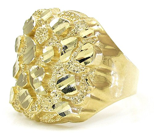 Jawa Jewelers 10K Men Nugget Ring Yellow Gold Size 10 (10) (Ring Gold Nugget Yellow)