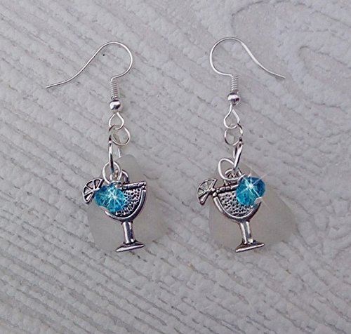 SEa glass earrings with margarita cocktail charms (Ring Cocktail Glass)
