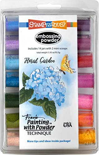 Stampendous EK144 Floral Garden Kit (14Pk) Embossing Powder Set, Jars