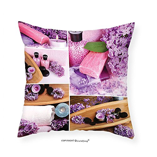 VROSELV Custom Cotton Linen Pillowcase Home Decor Collection Aromatic Spa with Lilac Petals Fresh Therapy Oils Bath Salt Soap Relax Theme Meditation Collage Bedroom Living Room Dorm Violet 20