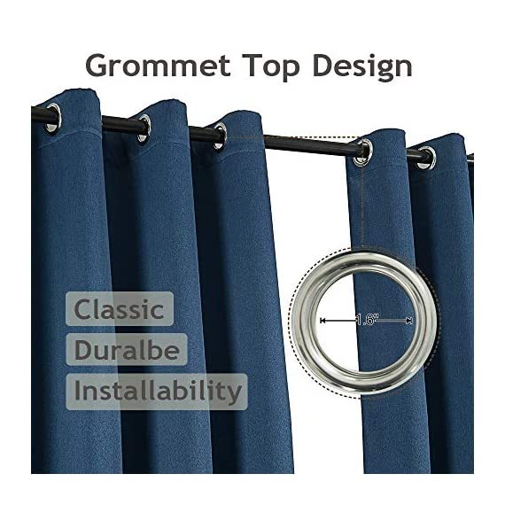 LAMBARY Grommet Blackout Curtains 2 Panels Set for Bedroom Thermal Insulated Window Draperies Room Darkening Drapes for Living Room 63 Inches Long Blue - Super thick fabric: can impede 95%-99% of sunlight, reduces outside noise, and ensures total privacy, creates a real night experience without getting lost in the dark, more suitable for living room and bedroom. Draperies constructed with a new design fabric named GOLF. It's a high quality, luxury and drapability, balancing room temperature by insulating against summer HEAT and winter CHILL meanwhile protect PRIVACY. No chemical coating, no formaldehyde, ECO-friendly, bring harmonious to your family. Blackout curtains set with 2 panels, each panel 52 inches width and 63 inches length, matching the standard living room/bedroom's windows. - living-room-soft-furnishings, living-room, draperies-curtains-shades - 51X7biVq6%2BL. SS570  -