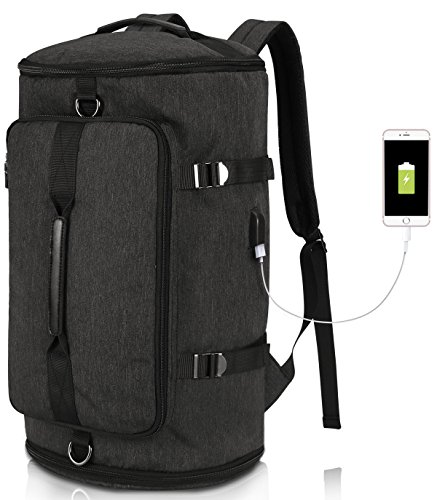 Tocode Water Resistant Hiking Backpack with USB Charging Port Travel Camping Work Bag Weekend Daypacks Rucksack Black