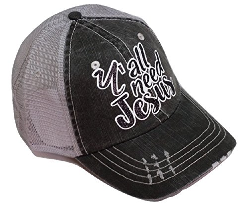 Loaded Lids Women's Y'all Need Jesus Distressed Bling Baseball Cap (White/Black)