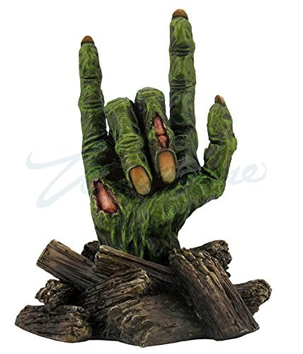 Zombie Hands – I Love You Sign Breaking Through Wood Board Statue Sculpture