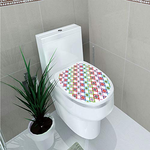 Toilet Sticker 3D Print Design,Floral,Abstract Squares with Flowers Spring Summer Blooms Nature Revival Patchwork Print,Multicolor,for Young Mens,W12.6
