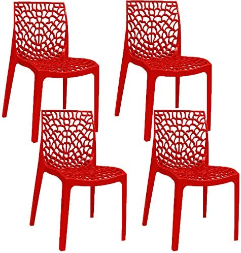 Pack 4 sillas color rojo brillo de exterior, terraza o jardín diseño italiano, modernas y apilables.: Amazon.es: Hogar