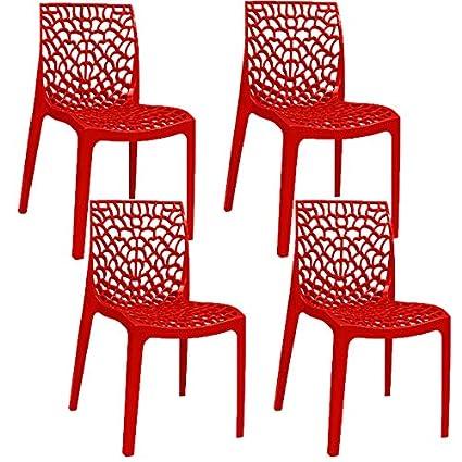 Pack 4 sillas color rojo brillo de exterior, terraza o ...