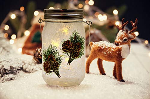 MJ PREMIER Christmas Decorations Frosty Finish Mason Jar Lights Handmade Set of 3, Decorative Hanging Lanterns LED Battery Operated with Timer, for Home Holiday Decor Indoor Outdoor (Pinecone Decal) (Holiday Handmade Decorations)