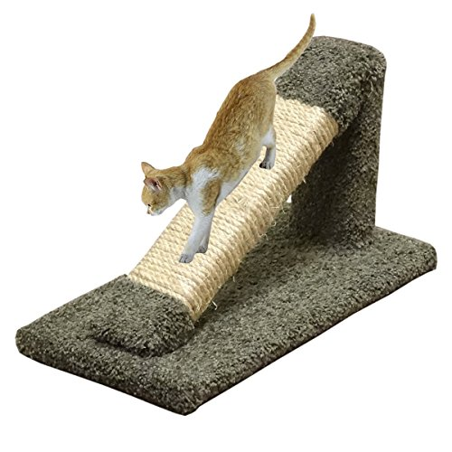 Cat Scratching Post Green Inclined Wood Cat Scratcher Sisal Rope & Carpet Pole For Sale