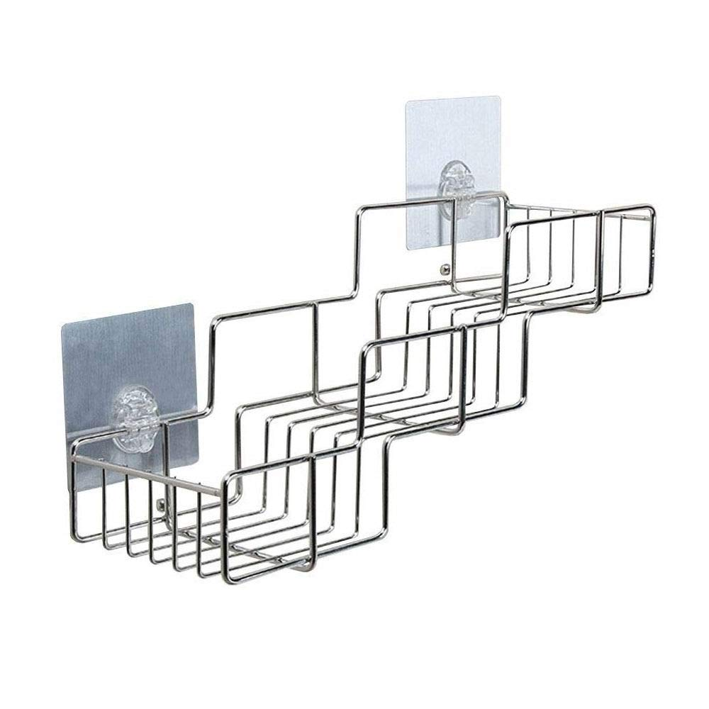 Stainless Steel Shelf Organizer, Rerii Self Adhesive Stainless Steel Bathroom Shower Rack Organizer for Shampoo, Kitchen Organizer Shelf for Condiment Bottles - Drill Free, Recyclable Adhesive Pad