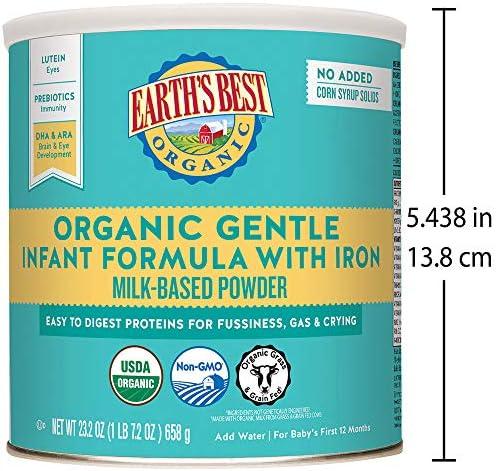 51X7dDO hYL. AC - Earth's Best Organic Gentle Infant Powder Formula With Iron, Easy To Digest Proteins, 23.2 Oz