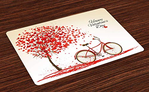 Ambesonne Valentines Day Place Mats Set of 4, Romantic Tree with Blooming Hearts with Bike and Petals Vintage Artwork, Washable Fabric Placemats for Dining Room Kitchen Table Decor, Cream Vermilion