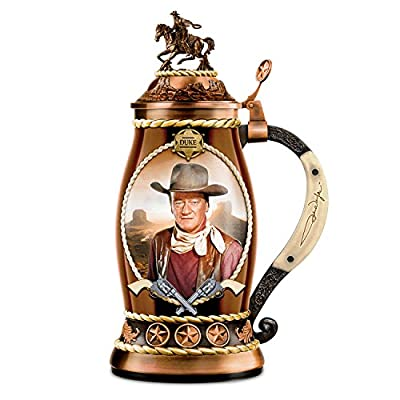 John Wayne Duke Porcelain Stein With Bronze Toned Metal Alloy Lid: Drink Safe by The Bradford Exchange