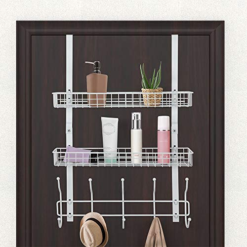 Over The Door Hook 2 Baskets & 5 Hooks Steel Storage Shelf Decorative for Office Home, Storage Organizer Rack for Coat Towel, Jewelry (White)