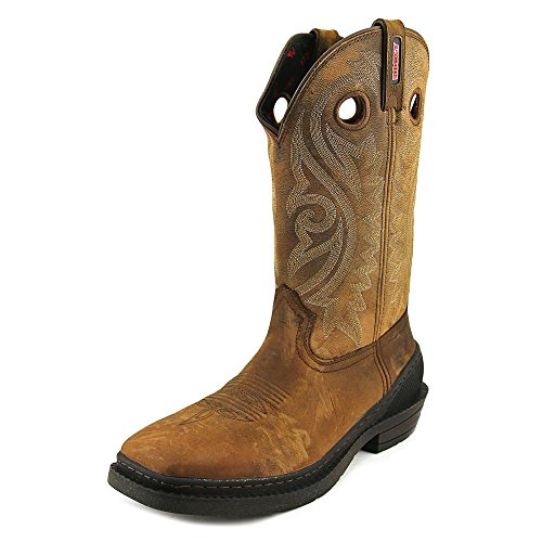 Men's Brown OutRidge Leather Western Rubber Ton Rocky Boots Work One dqzHadwR