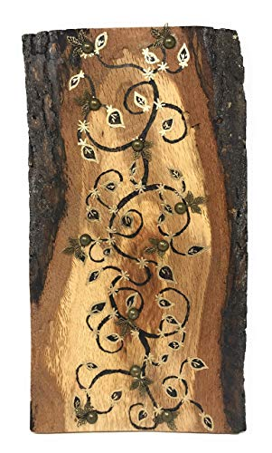 The Arabesque Natural Walnut Wood Handmade and Handcrafted Wall Hanging With Decorative Woodburned Vine And Scroll Arabesque ()