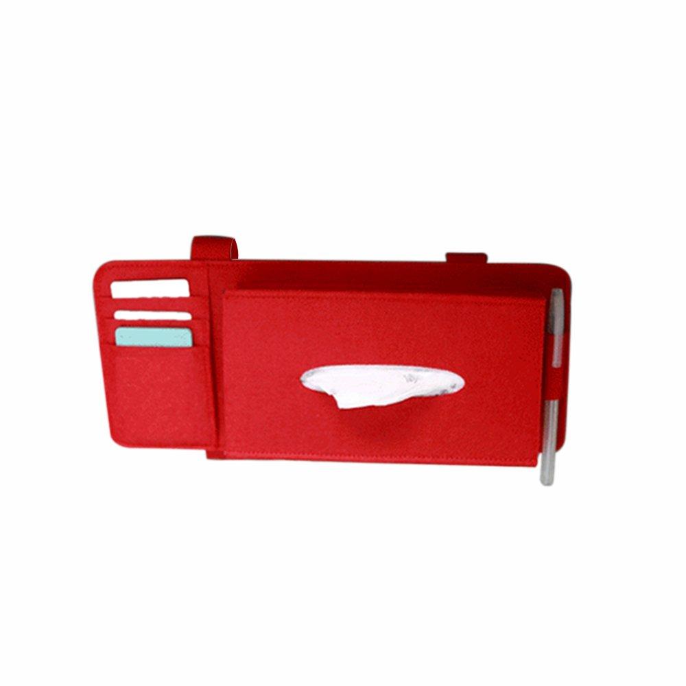 KKmoon Car Sun Visor Tissue Box Handy Paper Napkin Holder Clip; Car Styling Case Sun Visor Type Wool Felt Hanging Tissue Box Car Napkin Holder Vehicle Accessories Pocket Organizer Pouch Card Storage