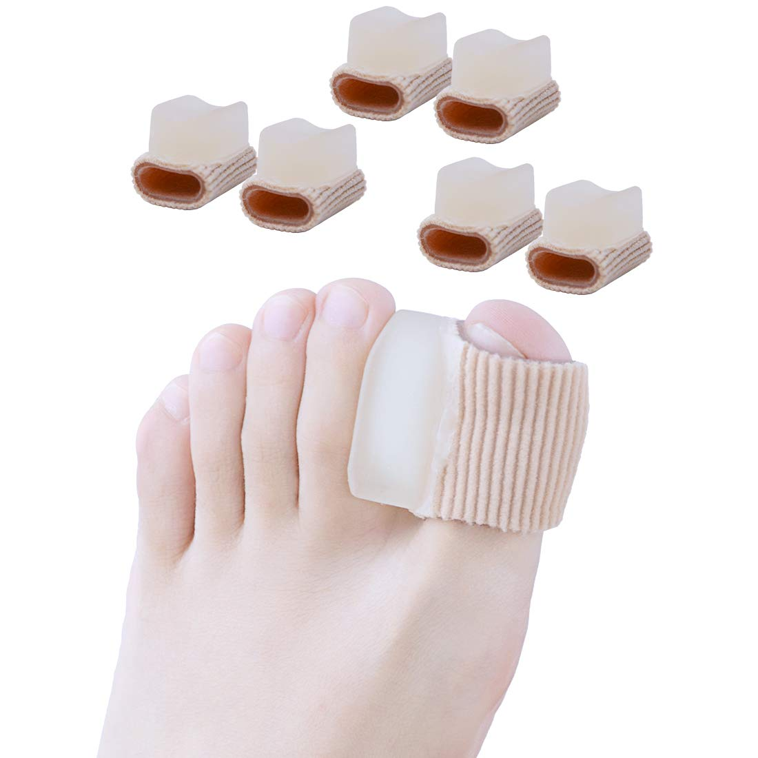 Povihome 3 Pairs Gel Toe Straightener Corrector for Overlapping Toe, Fabric Toe Separators for Hallux Valgus Bunion Orthotics, Bunion Protector with Soft Gel Lining for Bunion Pain Relief