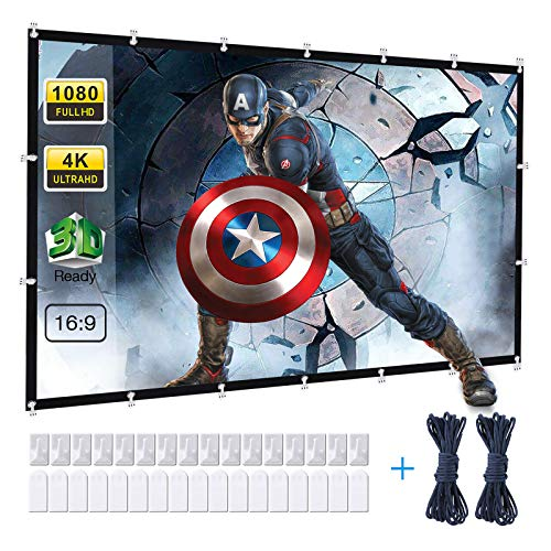 Powerextra Projector Screen 120 inch 16:9 HD Foldable Anti-Crease Portable Washable Projection Screen for Home Theater Outdoor Indoor Support Double Sided Projection - 120''