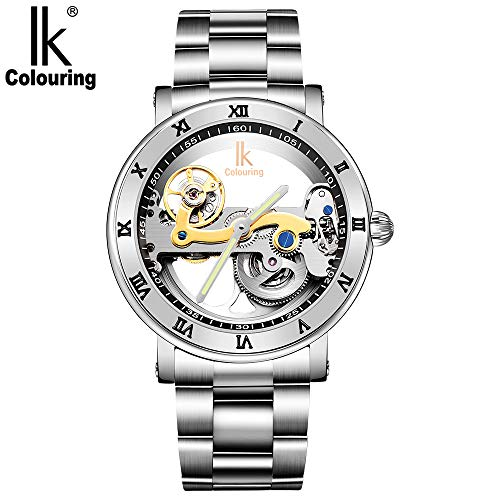 IK Colouring Automatic Mechanical Wrist Watch Dial Double-Sided Hollow Skeleton Fashion Men's 50 Meters Waterproof Watches Minimalist Silver