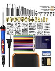 Wood Burning Kit, 80PCS Pyrography Pen Kit,200~450 ℃ Adjustable Temperature Woodburner Set,60W 110v wood burning pen for Embossing/Carving/Soldering Tips/Stencils/Color Pencils/Carbon/Holder/Carrying Case