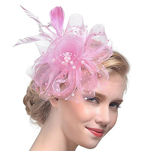 Wcysin Flower Cocktail Tea Party Headwear Feather Fascinators Top Hat for Girls and Women (Pink)