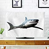 Leighhome Cord Cover for Wall Mounted tv Shark of Wild Sea Creature Character Computer Art Artifical Blue Grey White Cover Mounted tv W30 x H50 INCH/TV 52''
