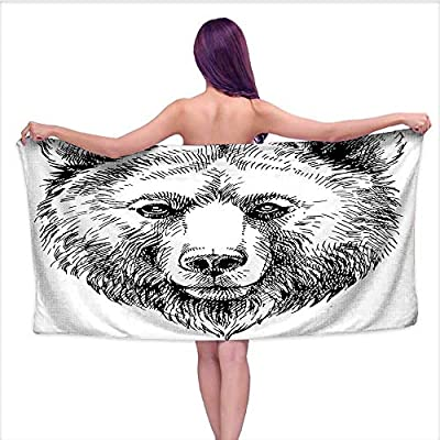 Absorbent Bath Towel Soft Beach Towel? Grizzly Bear Wildlife Mammal k Figure Nature Theme Work Black White,Fade Resistant Cotton Towel