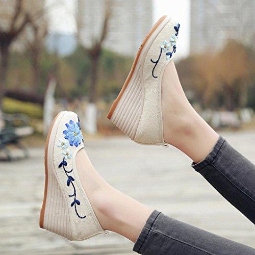 Stickerei Keil Schuhe Casual Steigung Baumwolle Weiß Leinen Damenschuhe bestickte HKFV Damenschuhe Bottom mit bestickten Wind Rib Damen Nationaler Flachs A0ApRTZ
