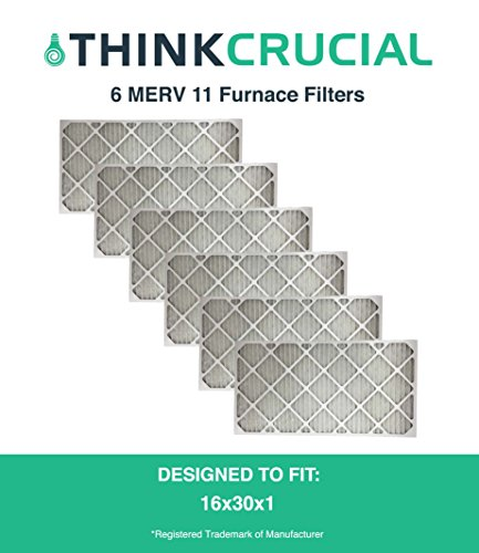 6 16x30x1 MERV 11 Allergen Air Furnace & Air Conditioner Filter, Pleated, Premium Filtration, by Think Crucial